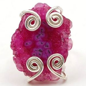 Jewelry - Geode Ruby Cluster 925 Ring Size 7.75